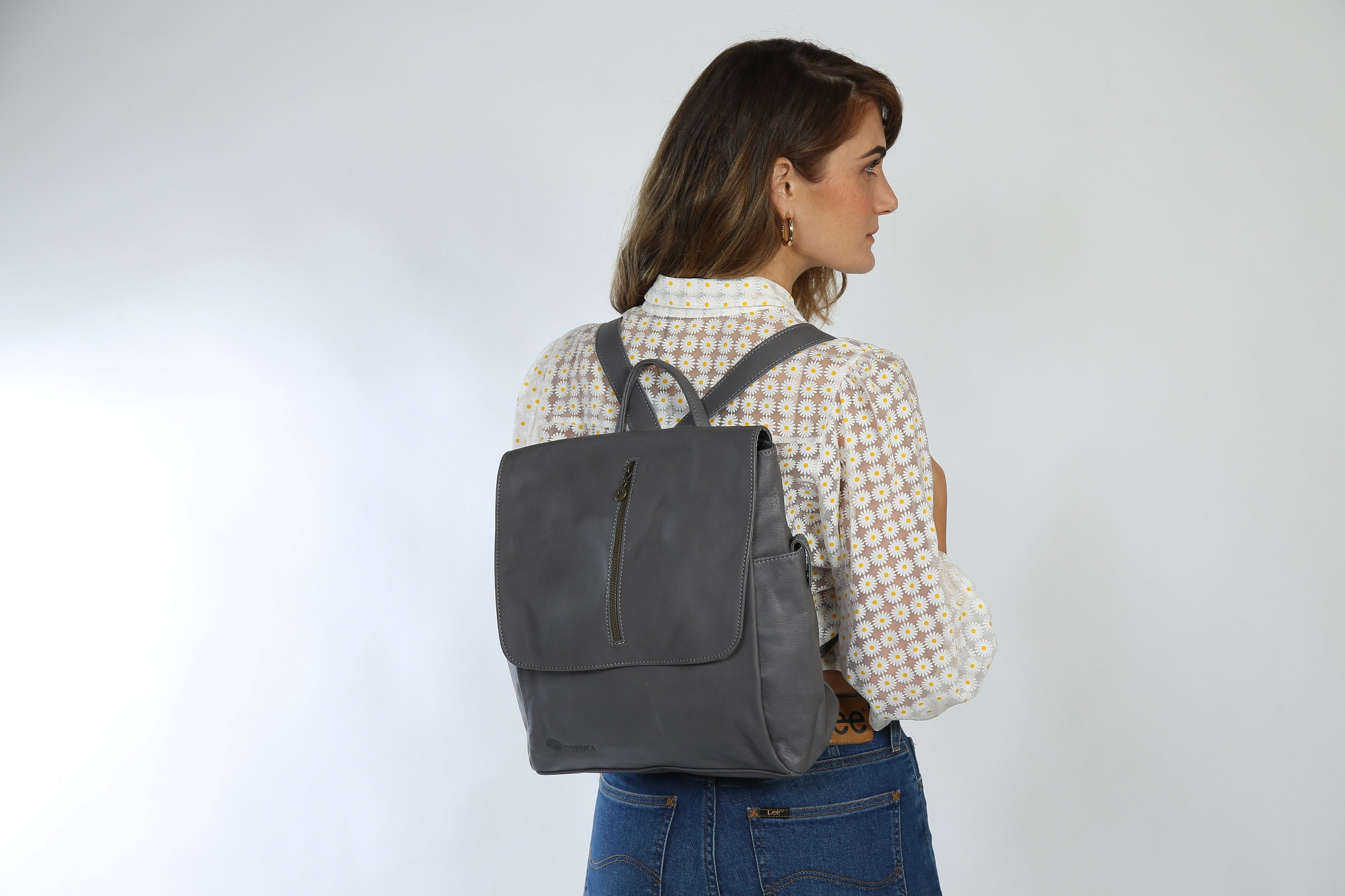 Adelle Gray Leather Backpack - Nymphaea design