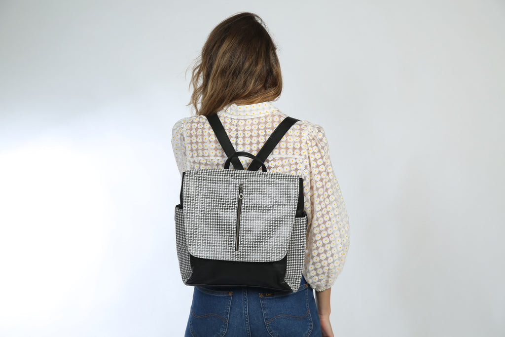 Adelle Pepita Leather Backpack - Nymphaea design