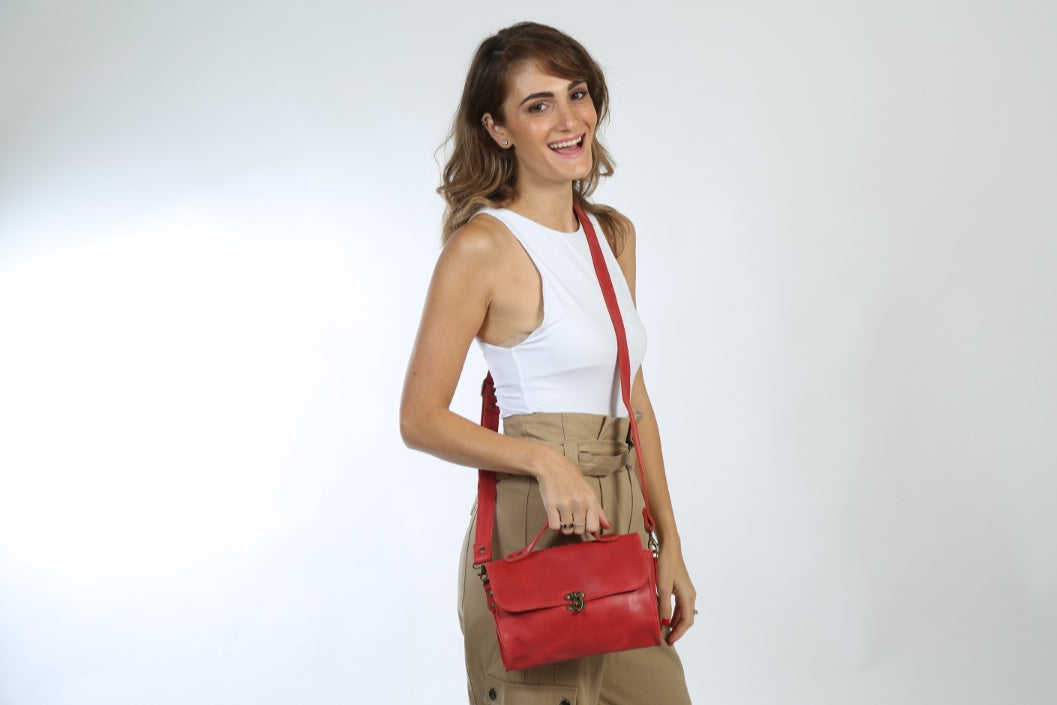 Evening Red Leather bag - Nymphaea design