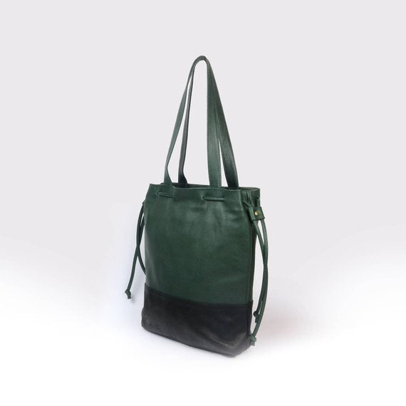 Hobo Green_black Leather bag - Nymphaea design