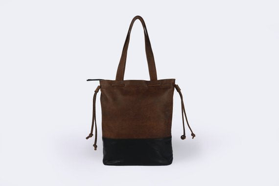 Hobo Brown_black Leather bag - Nymphaea design