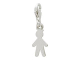 Ba  Boy Charm Lobster Clasp in Rhodium Plated