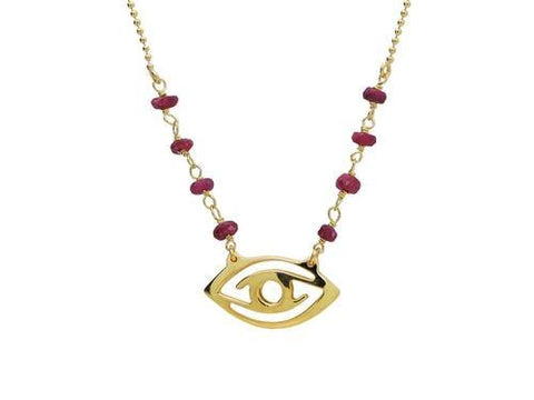 Golden Evil Eye Pendant Necklace with Red Ru