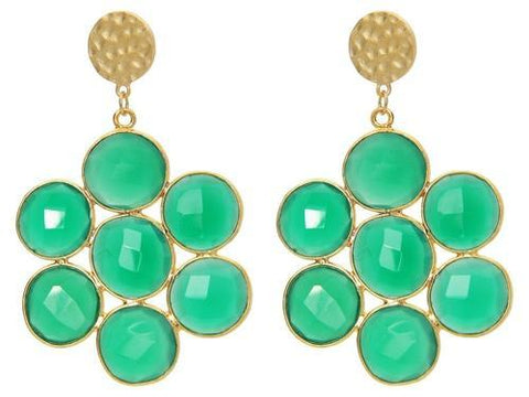 Mosaic Green Jade Earrings