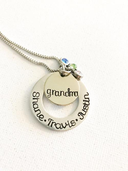 Mommy jewelry - Hand stamped necklace - Mother's