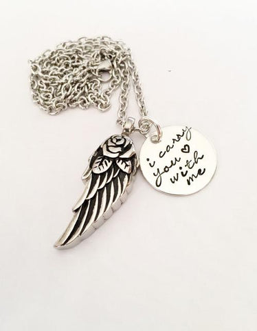 Urn necklace - Hand stamped necklace - Loss