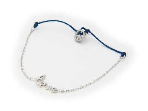 Silver Rhodium Plated Cord & Chain Love Bracelet