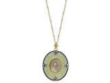 Athena Labradorite Oval Pendant Necklace in Gold
