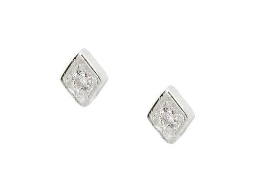 Tiny Brilliant Stone Stud Earrings (Silver)