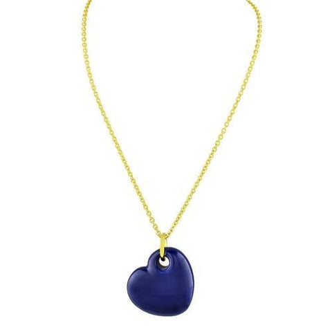 18k Gold Plated Blue Enamel Puffy Heart Necklace,