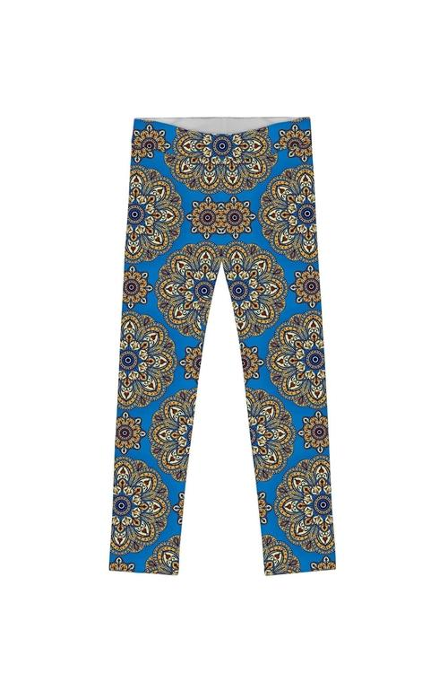Boho Chic Lucy Cute Blue Geometric Print Leggings