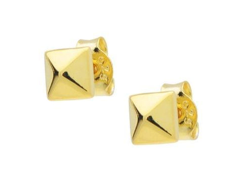 Gold Plated Silver Polished Pyramid Stud Earrings