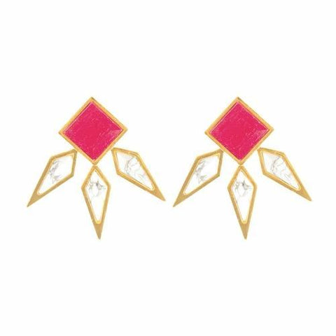 Athena Ruby & Howlite Stud Earrings