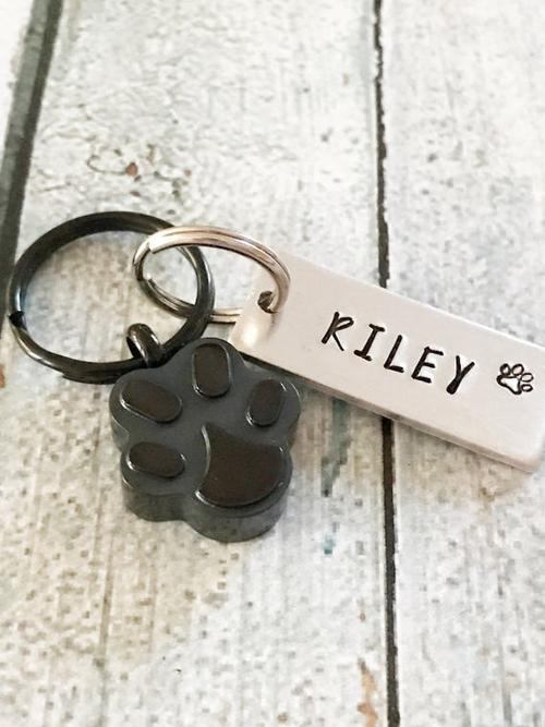 Pet loss - Hand stamped keychain - Pet memorial