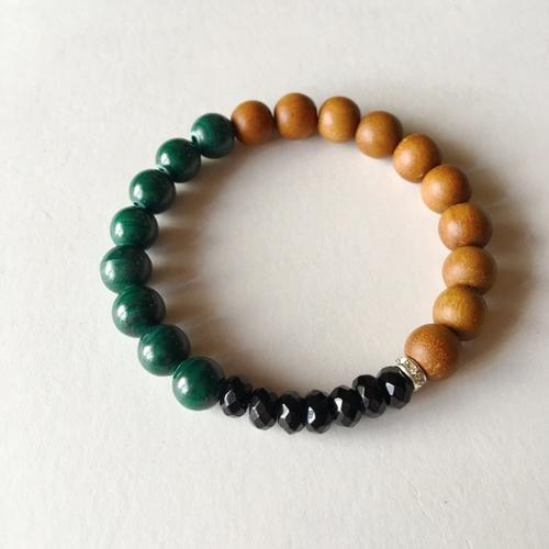 Wealth & Protection Bracelet ~ Malachite, Black