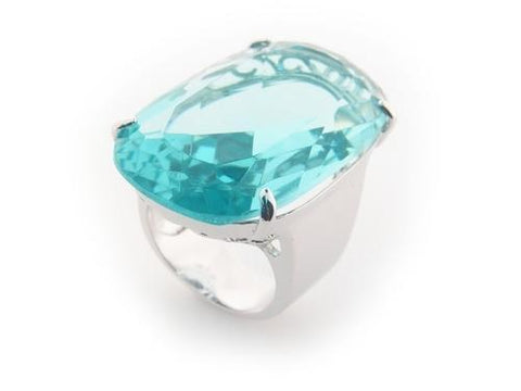 Aqua Crystal Statement Ring | Fine Brass By Fronay
