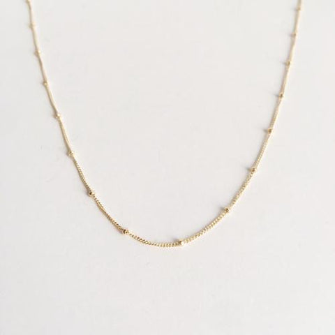 14k Gold Filled Beaded Minimalist Choker Necklace