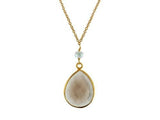 Tear Drop Natural Quartz & Pearl Necklace