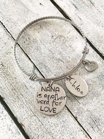 Another word for love - Hand stamped bracelet -