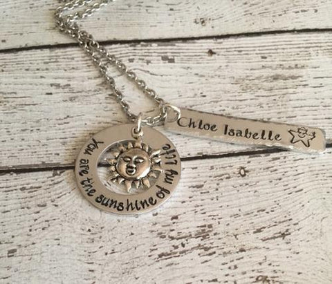 You are my sunshine - Hand stamped necklace - You