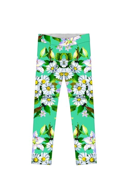 Flower Party Lucy Cute Green Printed Stretch
