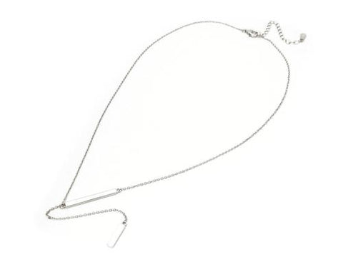 Double Bar Lariet Necklace in Rhodium Plated