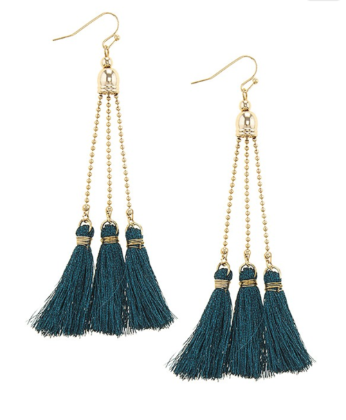 Teal Tassel Earrings w/ 14k Gold Filled Hooks