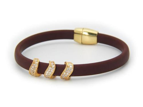 Rome Brown CZ Waves Bracelet