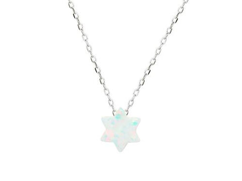 925 Rhodium Plated Silver Mini Opal Stone Star of