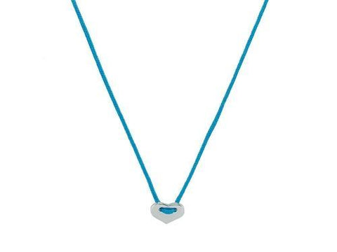 Teal Kindred Cord Mini Heart Choker Necklace