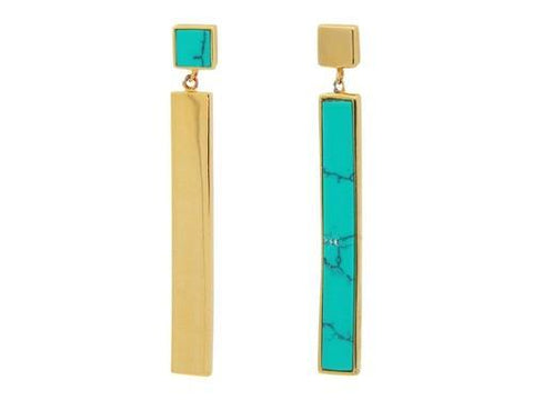Turquoise Duality Earrings: Sterling Silver 1.62""