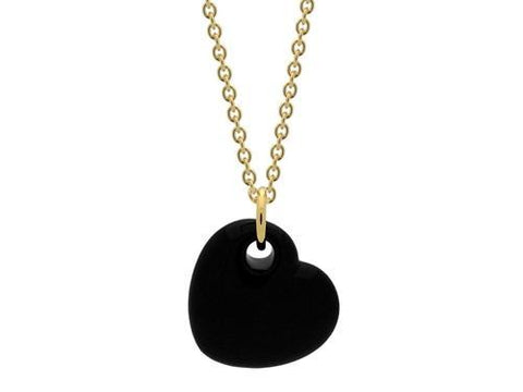 18k Gold Plated Black Enamel Puffy Heart Necklace,
