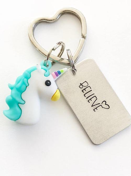 Unicorn keychain, Hand stamped jewelry, Hand