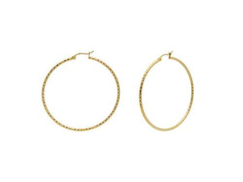 Small Diamond Cut Gold Plated Hoop Earrings