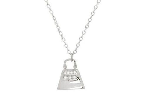 Teen Sparkling Cz Purse Pendant Necklace in