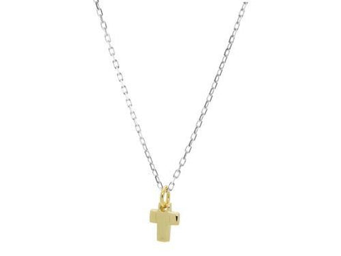 Mini Golden Cross Pendnant Necklace with Rhodium