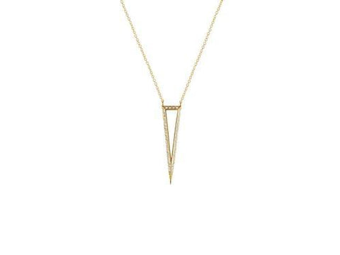 Sparkling CZ 3D Open Triangle Pendant Necklace in