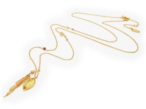 Tassel Necklace with Marquise Citrine Pendant and