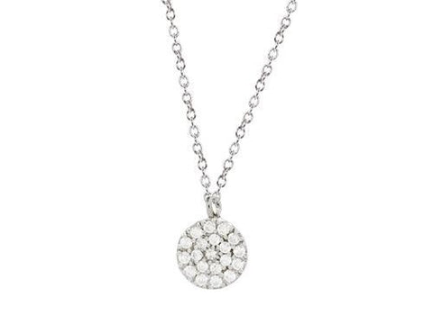 Mini Sparkling Pave Cz Disc Necklace in Sterling