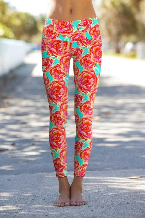 Oh So Sassy Lucy Floral Print Performance Leggings