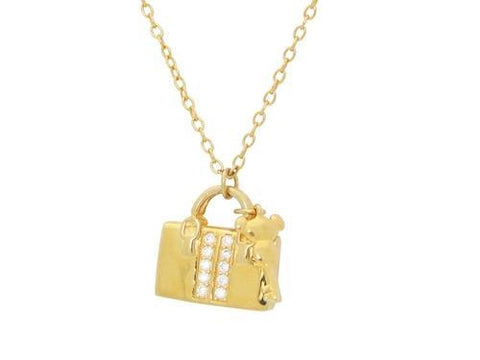 Teen Sparkling Cz Purse & Key Pendant Necklace in