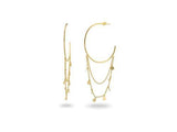 18k Gold Pl Silver Charms-Chain & Hoops, 1.5""
