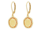 Sparkling Citrine Cz Slice Leverback Earrings in