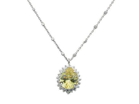Almond Canary & CZ Pendant Necklace in Sterling