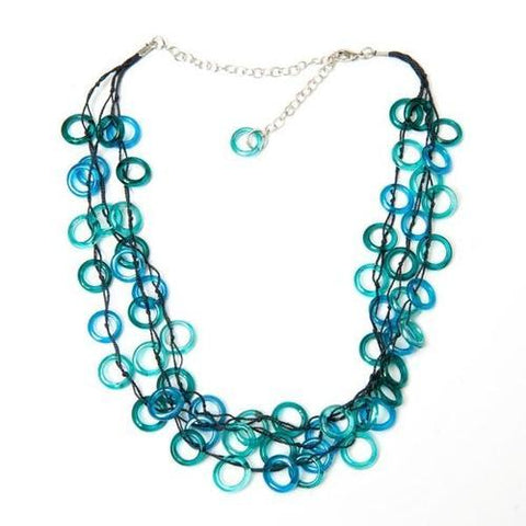Aqua Rings Cascade Necklace