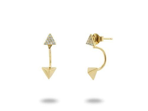 18k Gold Plated Sterling SIlver Ear Jacket Pyramid