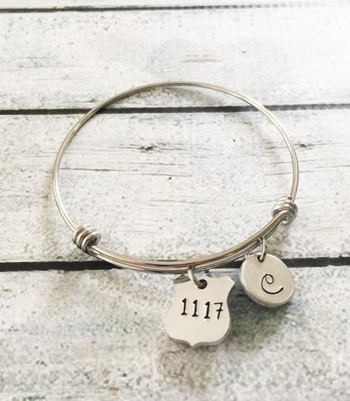 Police badge jewelry - Hand stamped bracelet -