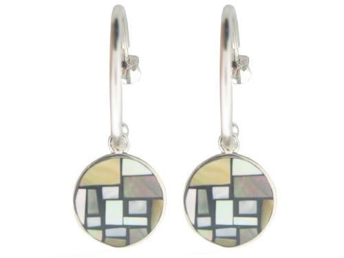 Vintage Button Mother of Pearl Hoop Earrings in