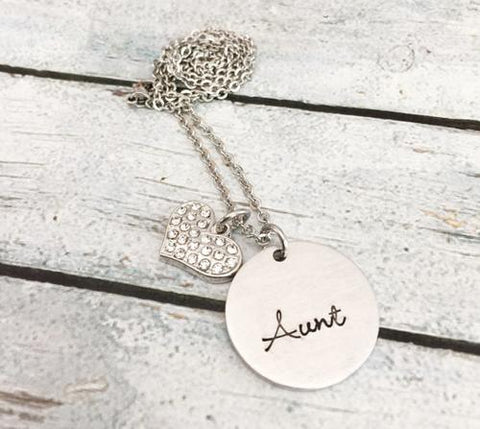 Aunt necklace - Hand stamped necklace - Gift for