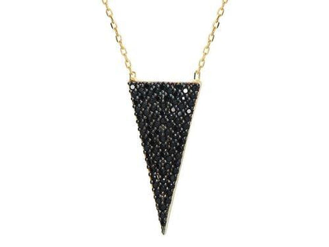 "Silver Gold Plated 1"" Isoceles Triangle  Black  Cz"
